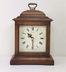 SEIKO QUARTZ Mantel Clock Wood Case AQZ 001B, 1980s WORKS