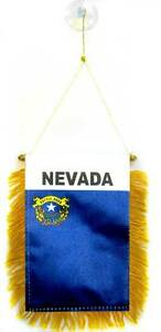 """State of Nevada Mini Flag 4""""x6"""" Window Banner w/ suction cup"""