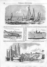 La pêche des huîtres à la drague au râteau bateau Cancale Bretagne GRAVURE 1844