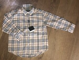 Burberry Boys Iconic Check, Oxford Style Long Sleeve Shirt. Age 5 Years