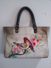 Anuschka Hand-Painted Leather Zip Top Front Pocket Satchel w Strap, Summer Tyrst