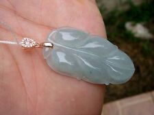 Certified Icy Translucent Jadeite Hand Carved Leaf 925 Bail Pendant A^A【Grade A】