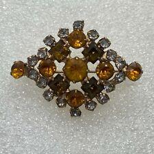Vintage DIAMOND SHAPE BROOCH pin Pendant Rhinestone Gold Tone Costume Jewelry