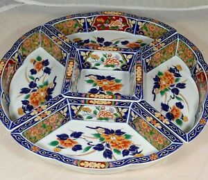 Japanese Imari Ware Serving Platter Blue Floral Five Sections Hand Painted