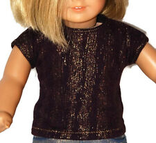 """PLUM KNIT with GOLD FOIL PRINT TEE - Doll Clothes - fits 18"""" American Girl Dolls"""