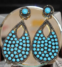 Look 925 Silver Dangle Earring 2.45cts Rose Cut Diamond Turquoise Victorian