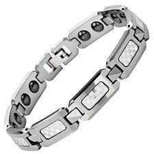 Bracelet Magnetic White Carbon Fibre Tungsten Carbide 8.5 -9 inch  Men's Unisex