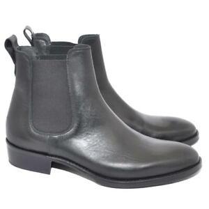 Chelsea Boots stivali uomo LS Luisantiago in vera pelle di nappa nero fondo cuoi