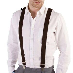 Bretelle uomo accessori strette pantaloni straccali nere/blu vintage Y clips