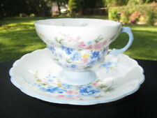 CUP SAUCER ROSINA DAINTY PIECE SKY BLUE FOOTED AND HANDLE PINK BLUE FLOWER SPRAY