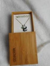 NIB 2003 BAMBOO BRAND 925 STERLING & CLOISONNE PANDA PENDANT & CHAIN NECKLACE
