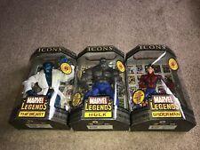 """Marvel Legends Icons 12"""" Variant Lot Grey Hulk, Blue Beast, Unmasked Spider-Man"""