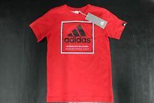 Adidas Niños Rojo 100% Algodón Gráfico Tres Rayas Top T-Shirt 7-8 Años BNWT