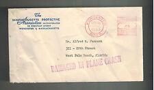 1955 USA Worcester MA Comemrcial Crash Cover to West Palm Beach Florida