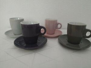 4 Espressotassen Flirt Fashion Mix grau lila rosa anthrazit