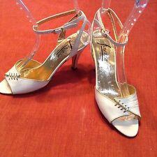 Vtg Finezza Italian White Gold Strappy Sandal Heels Shoes 60's Mad Men Style 6.5
