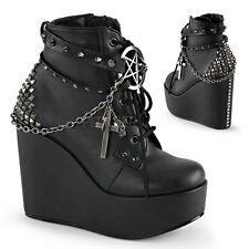 DEMONIA Womens Wedge Platform Cross Chains Goth Punk Gothic Ankle Boots Booties