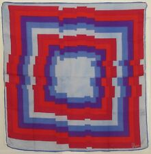 "TERRIART Blues, Purple, Red Box Stripes SILK 25"" Square Scarf-Vintage VERA"