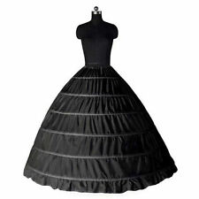 Black 6 Hoop Wedding Ball Gown Crinoline Bridal Dress Petticoat Skirt Underskirt