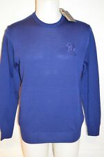 ROBERTO CAVALLI Man's LOGO Crew Neck WOOL Sweater  Size Large NEW Retail $495