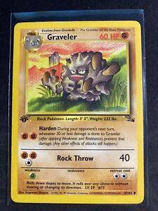 1ST EDITION VINTAGE POKEMON CARD GRAVELER 1999 FOSSIL SET 37/62