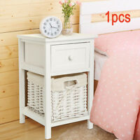 New White Shabby Chic Tall Bedside Storage Drawers Wicker Storage Tables
