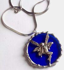 pendentif collier couleur argent bijou vintage verre bleu fée argentée 2569