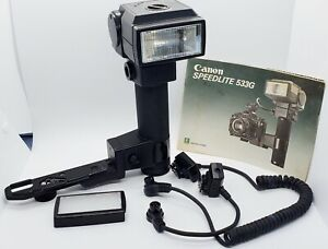 Canon Speedlite 533G A1 AE1 Camera Flash 2 Cables Filter Bracket Manual