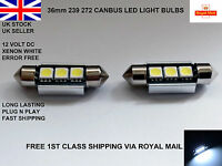 2 X 36mm FESTOON 3 LED SMD NUMBER PLATE LIGHT BULBS LAMPS CANBUS ERROR FREE 12V