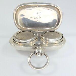 Antique Silver Sovereign Case Double Case Sovereign & Half Coins Birm 1912 30g