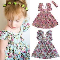 Cute Baby Kids Girls Summer Dress Sleeveless Floral Print Dresses Clothes Outfit