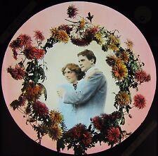 BAMFORTH Glass Magic Lantern Slide BECAUSE NO6 C1910 EDWARDIAN LOVE STORY LADY