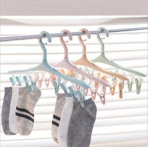 2Pcs Clothes Hanger Windproof Plastic Swivel Bras Underwear Socks Rack w/ 8clips