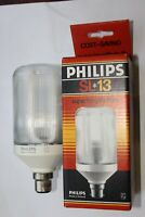 2 x RARE Vintage Philips Holland B22 Prismatic 13w SL Low Energy Bulb BOXED