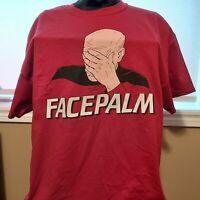 Captain Luc Picard- Face Palm- Tee Shirt - Star Trek - XL New 100% Cotton