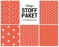 Stoffpaket orange 5x (0,5 x 1,50m) Patchworkpaket Baumwolle Nähpaket DIY Stoffe