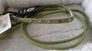 Doxtasy Xsmall FINE REAL LEATHER Dog Pup Lead Leash silver stars 140 X 7MM Green