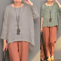 Fashion Women Long Sleeve Oversize Vintage Casual Blouse Tops Asymmetrical Shirt