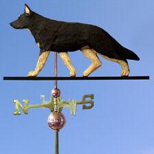 German Shepherd Hand Carved Hand Painted Basswood Dog Weathervane Black w/ Ta.