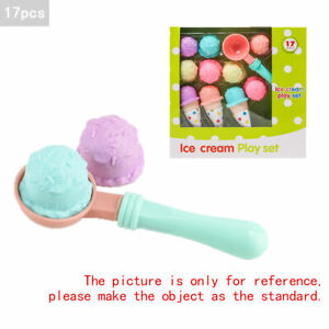 17pcs Kids Kitchen Ice Cream Play Set Pretend Play Cones Scoops Food Toy Playset