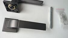 New Black Door Handle Set -  MATT BLACK NICKEL SQUARE Rose- Dummy Lever Set 50mm
