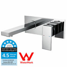 New WELS Wall Mount Chrome Finish Spout Bathroom Basin Sink Mixer Water Tap-B