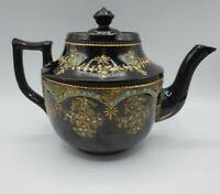 "PRICE BROS. BURSLEM England Brown Glazed Enameled Redware Pottery #5 Teapot 6"" H"