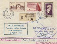LETTRE 1ere LIAISON PAR HELICOPTERE LILLE - BRUXELLES BELGIQUE 5 AOUT 1953