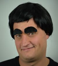 Men's Black Wig and Thick Eyebrows, 70's/80's Pop Fancy Dress Party, Cowboy, Cop