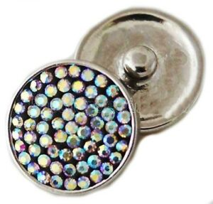 Black White Opal Sugar Rhinestone Snap 18mm Snap Charm Jewelry For Ginger Snaps