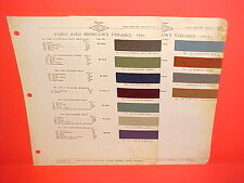 1941 FORD CAR MERCURY STANDARD SUPER DELUXE CONVERTIBLE PAINT CHIPS BROCHURE 41