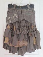 Desigual wool skirt, brown cream red tweed and herringbone, size 38, EUC
