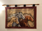 """Vintage Three Horses Verse Velvet Tapestry Wood Wall Hanging 36""""x28"""" Made In USA"""