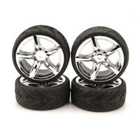 4PCS 1:10 Rubber Tire RC Racing Tire Wheel Rim Tyres 12mm Hex For On Road Car